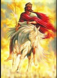 Christ, crowned as King with royal garments, carrying a shining sword, He is astride a galloping white thoroughbred with bright golden clouds behind Him
